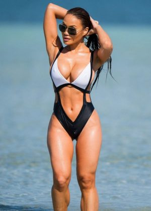 Daphne Joy in Swimsuit at the beach in Miami