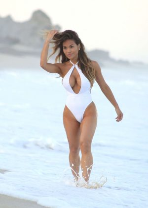 Daphne Joy in White Swimsuit in Mexico