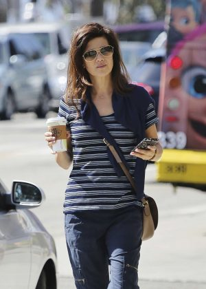 Daphne Zuniga grabbing a coffee in Los Angeles