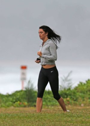 Darcie Lincoln in Tights Jogging on the Beach in Hawaii