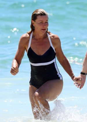 Deborah Hutton in Swimsuit at Bronte Beach