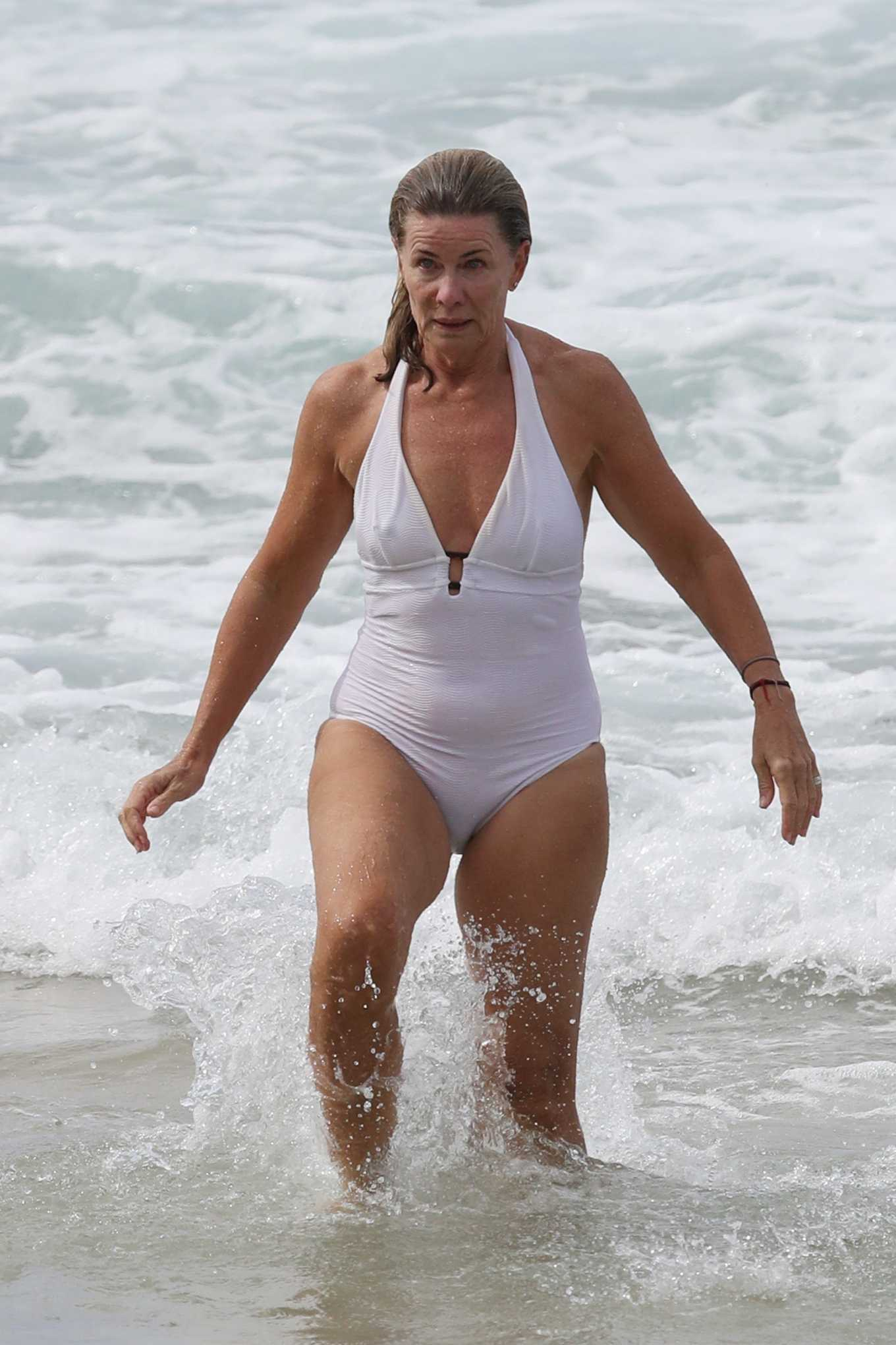 Deborah Hutton - Swimsuit candids at a Sydney beach
