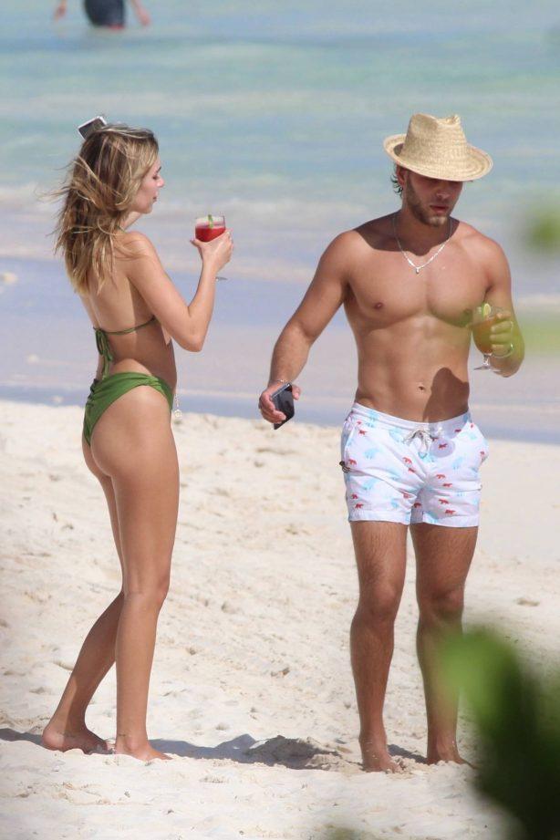Delilah Belle Hamlin - In bikini with Eyal Booker on the beach in Tulum