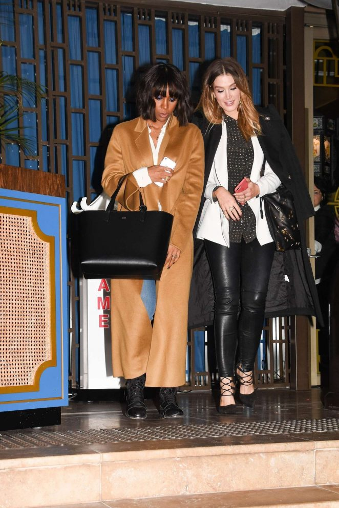 Delta Goodrem and Kelly Rowland at Boy George's birthday in Sydney