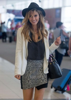 Delta Goodrem in Mini Skirt at Adelaide Airport