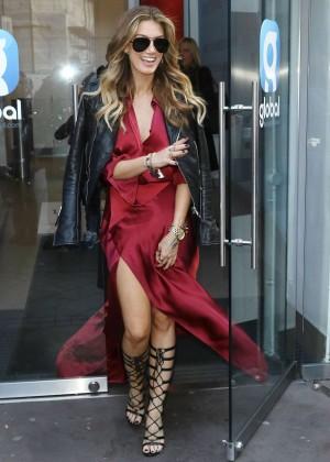 Delta Goodrem in Red Dress at Global Radio in London