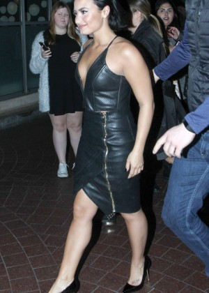 Demi Lovato in Leather Dress out in London