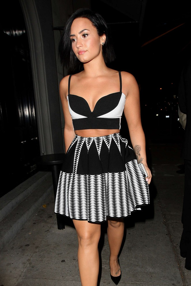 Demi Lovato in Short Dress at Craig's in West Hollywood