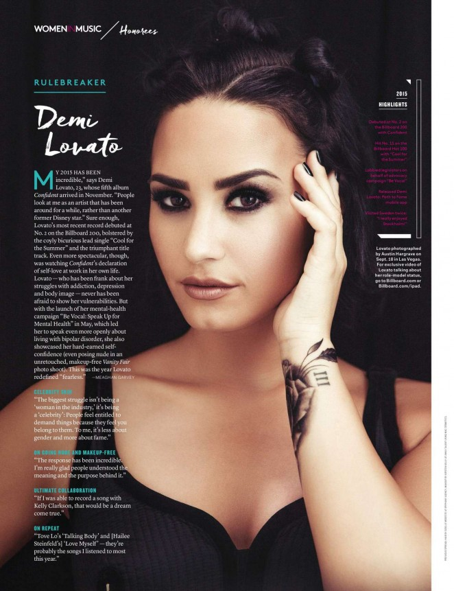 Demi Lovato - Billboard Magazine (December 2015)