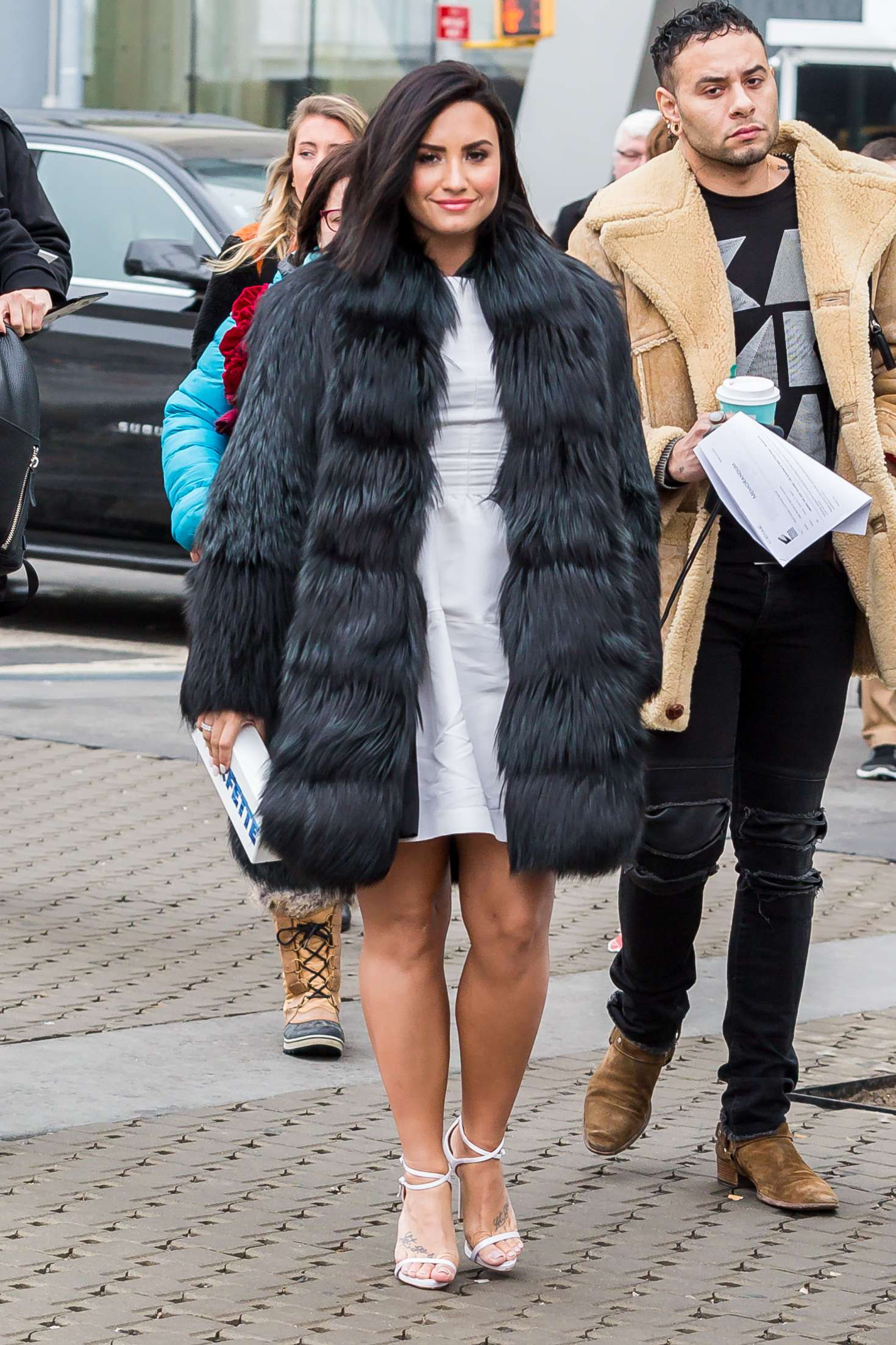 Demi Lovato In Black Fur Coat Out In New York City Gotceleb