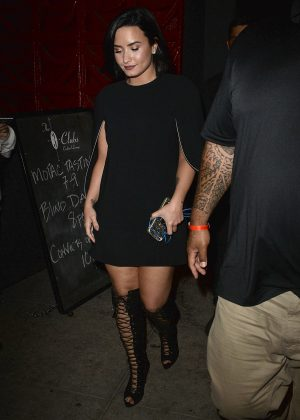 Demi Lovato in Mini Dress at 'Three Clubs' in West Hollywood