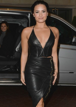 Demi Lovato in Tight Dress out in London