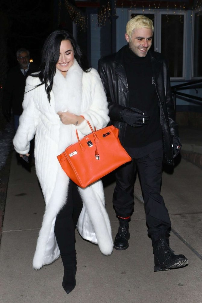Demi Lovato in White Fur Coat with Henri Levy - Out in Aspen