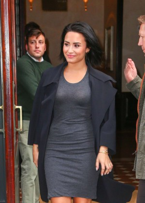 Demi Lovato in Short Tight Dress out in New York