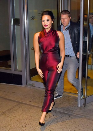 Demi Lovato in Red Leaving the Hilton Hotel in NYC