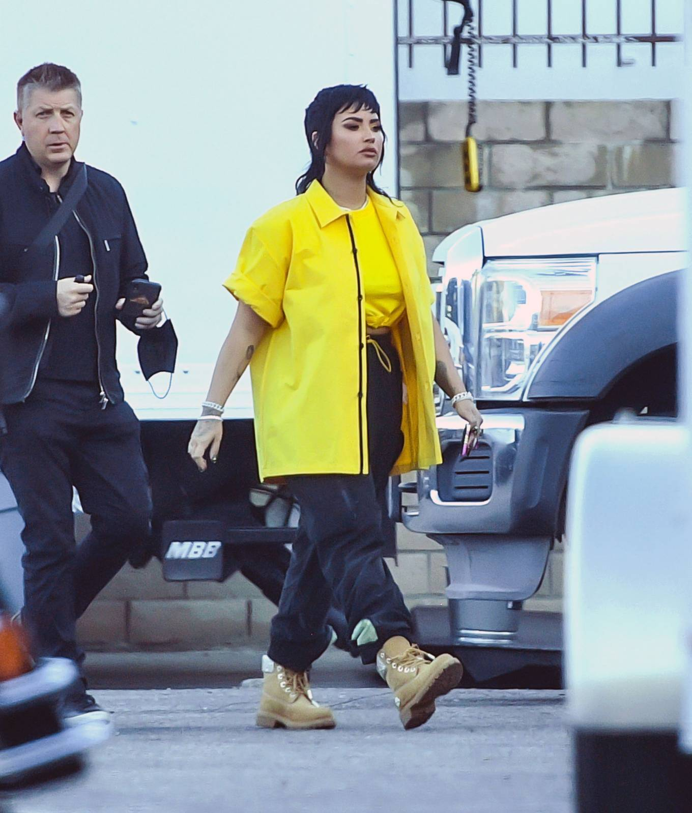 Demi Lovato - on the set of a music video of an unreleased song in L.A.