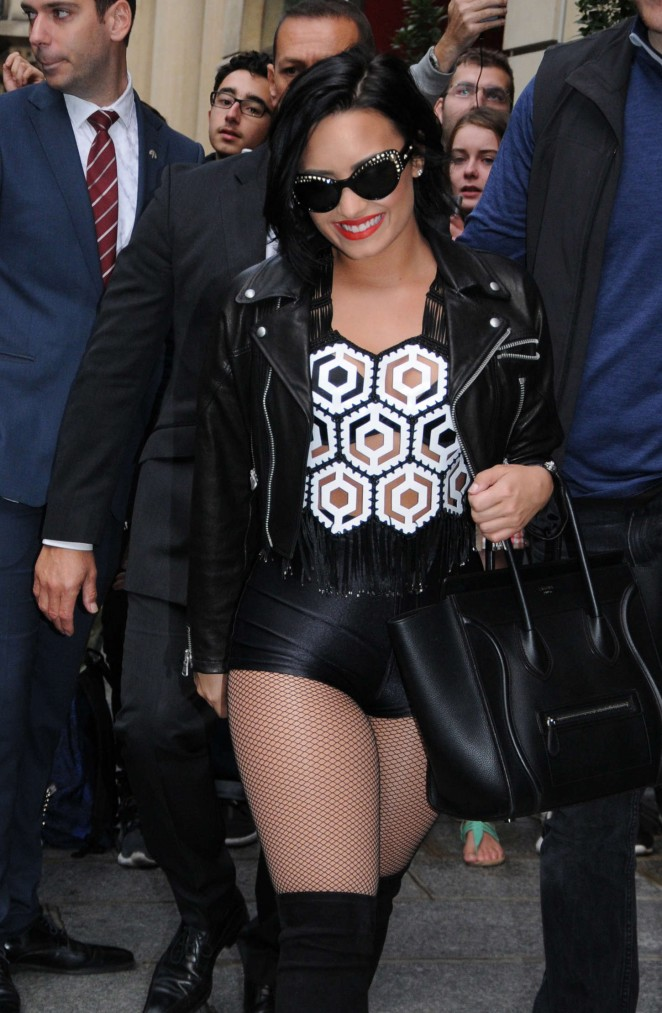 Demi Lovato in Leather Shorts Out in Paris