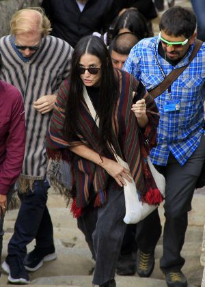 Demi Moore in a Peruvian Poncho out in Cusco