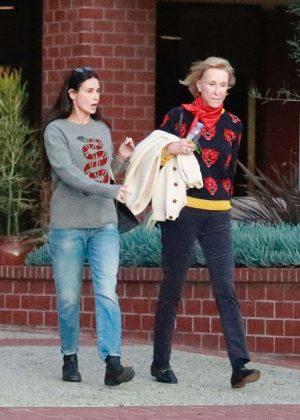Demi Moore with a friend leaving a health center in LA