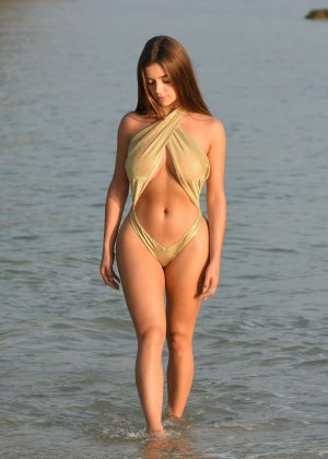 Demi Rose in a Gold Swimsuit in Phuket