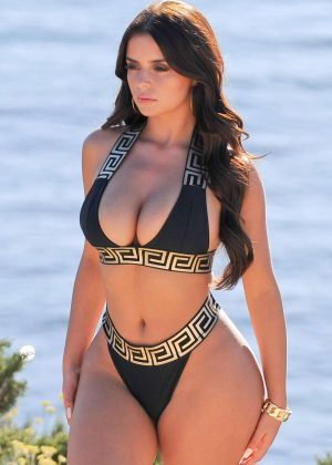 Demi Rose in Black Bikini on Photoshoot in Ibiza