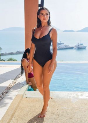 Demi Rose in Black Swimsuit at the pool in Phuket