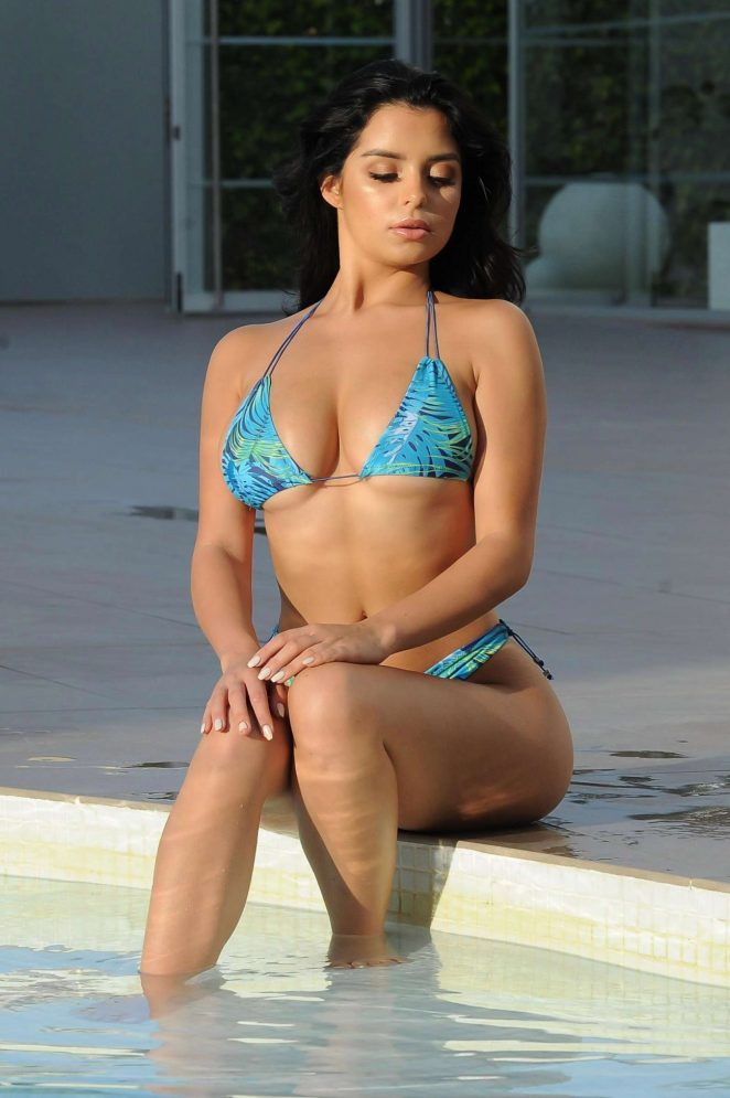 Demi Rose in Blue Bikini at a pool in in Ibiza