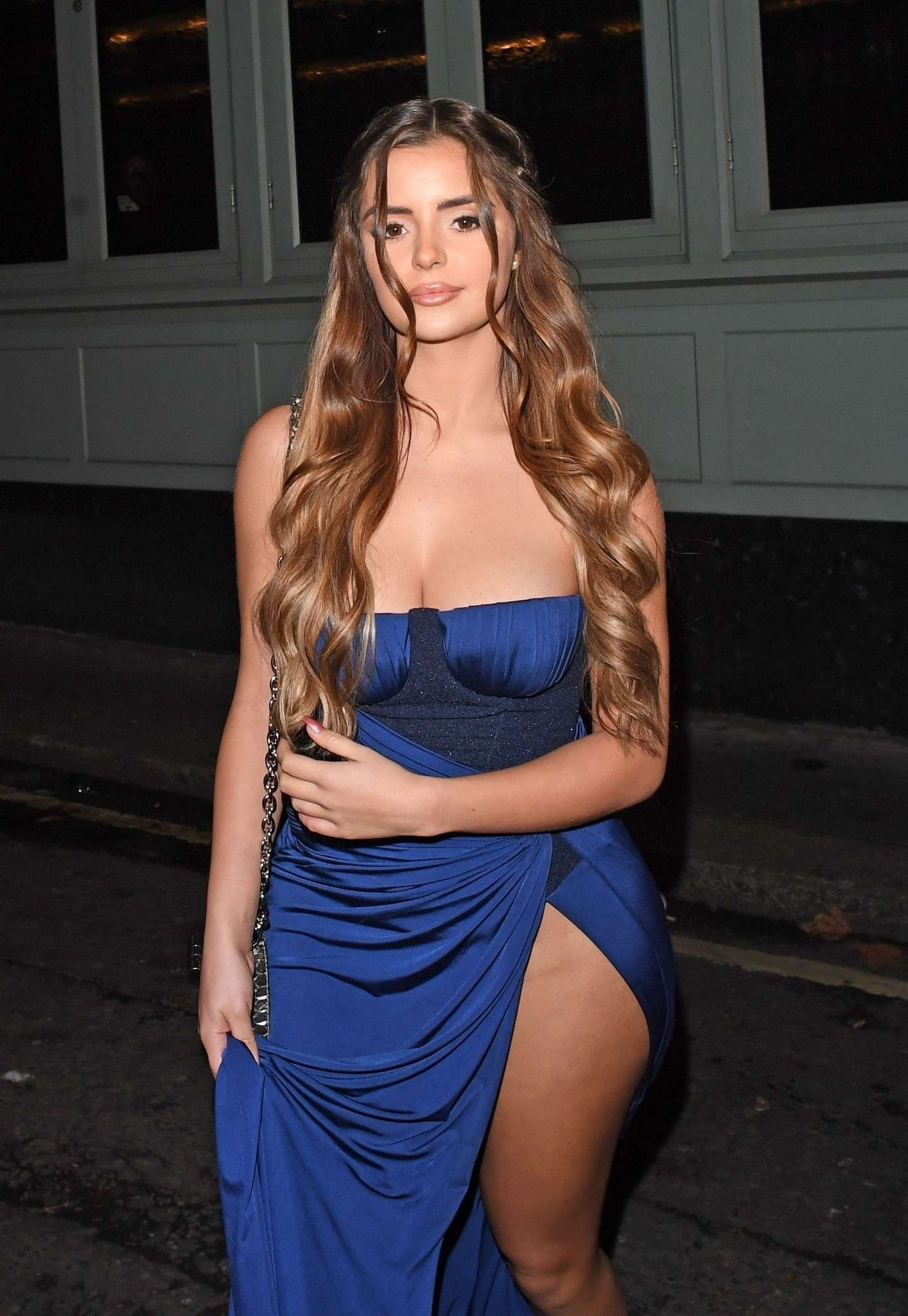 Demi Rose in Blue Dress at Sexy Fish in London