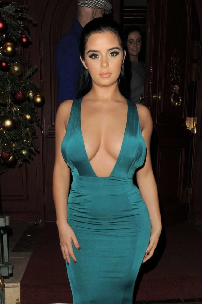 Demi Rose in Green Dress - Night Out in Mayfair