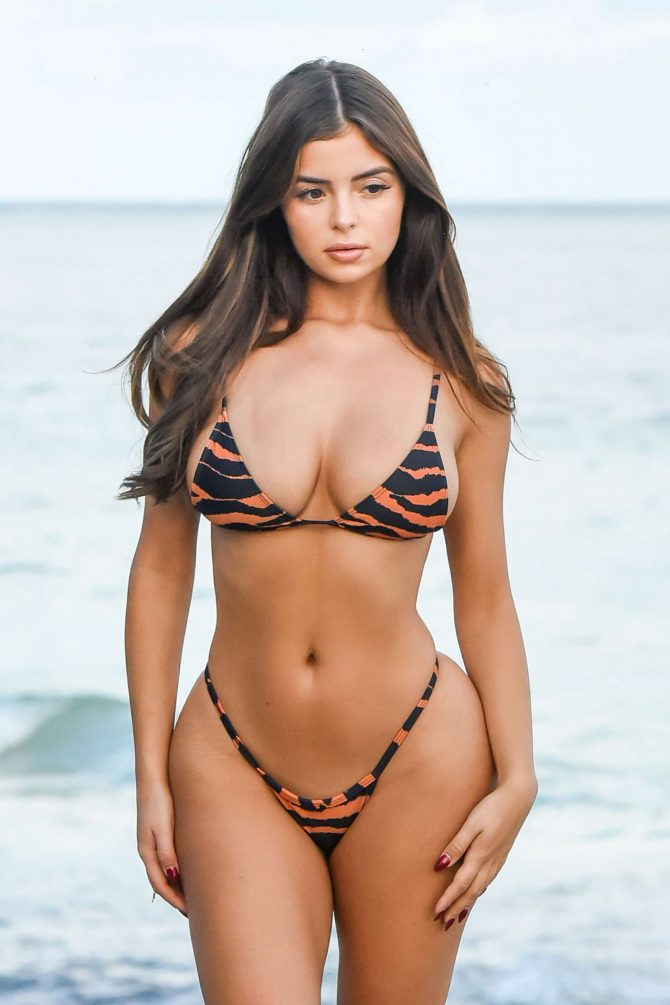 Demi Rose in Print Bikini – Photoshoot in Tulum