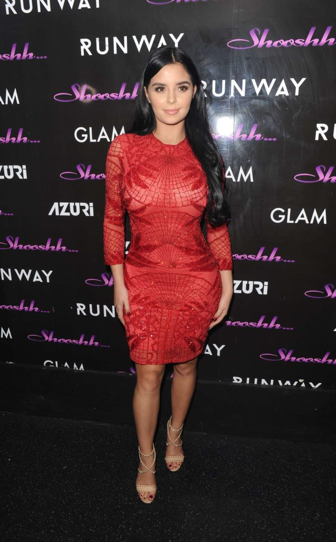 Demi Rose in Red Dress at Shooshh nightclub in Brighton