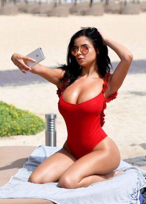 Demi Rose in Red Swimsuit in Cape Verde