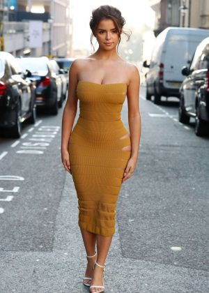Demi Rose in Tight Dress - Out and about in London