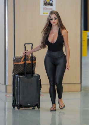Demi Rose in Tights - Arrives at Airport in Ibiza