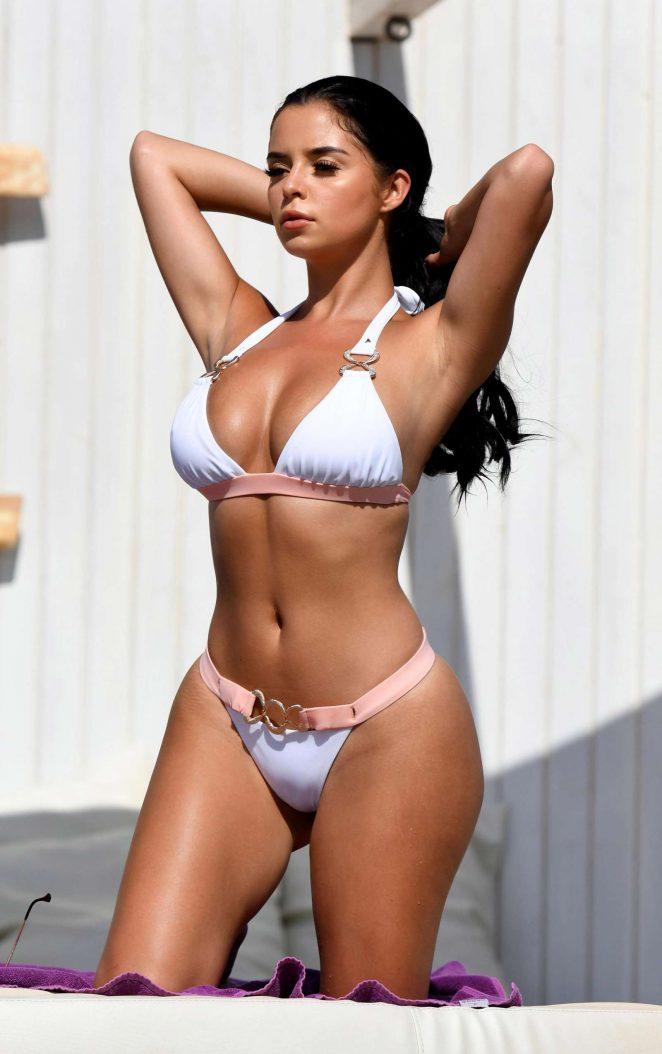Demi Rose in White Bikini on the pool in Cape Verde