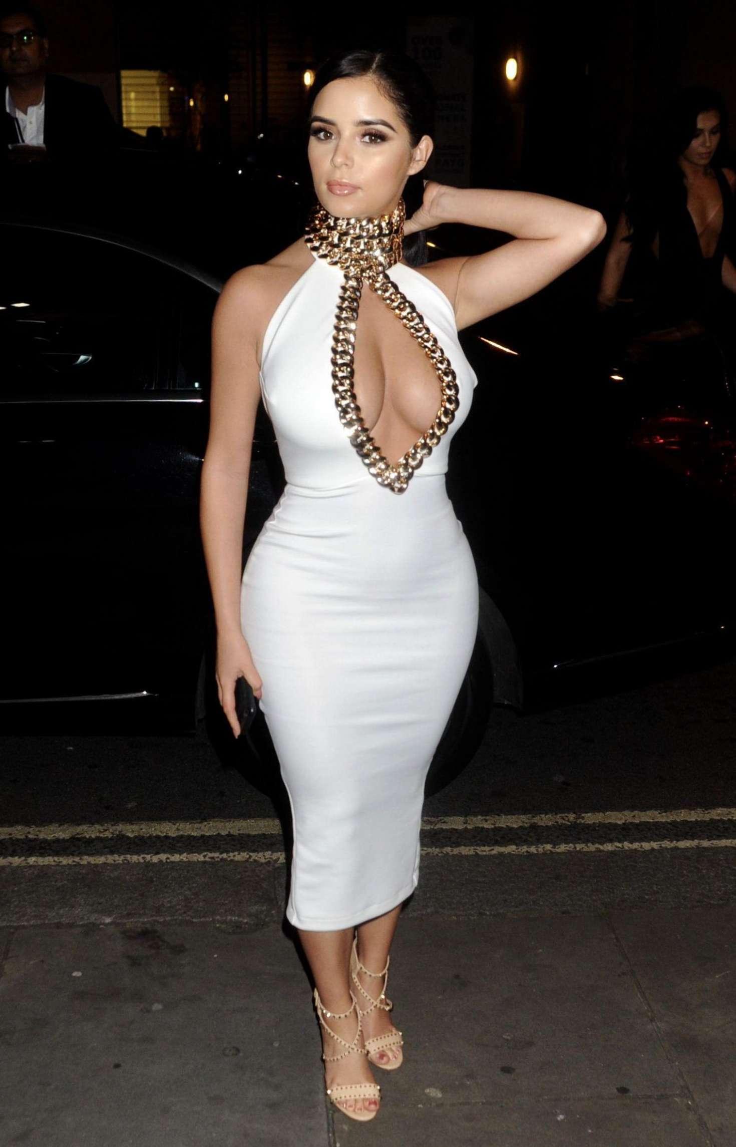Demi Rose In White Tight Dress 19 Gotceleb