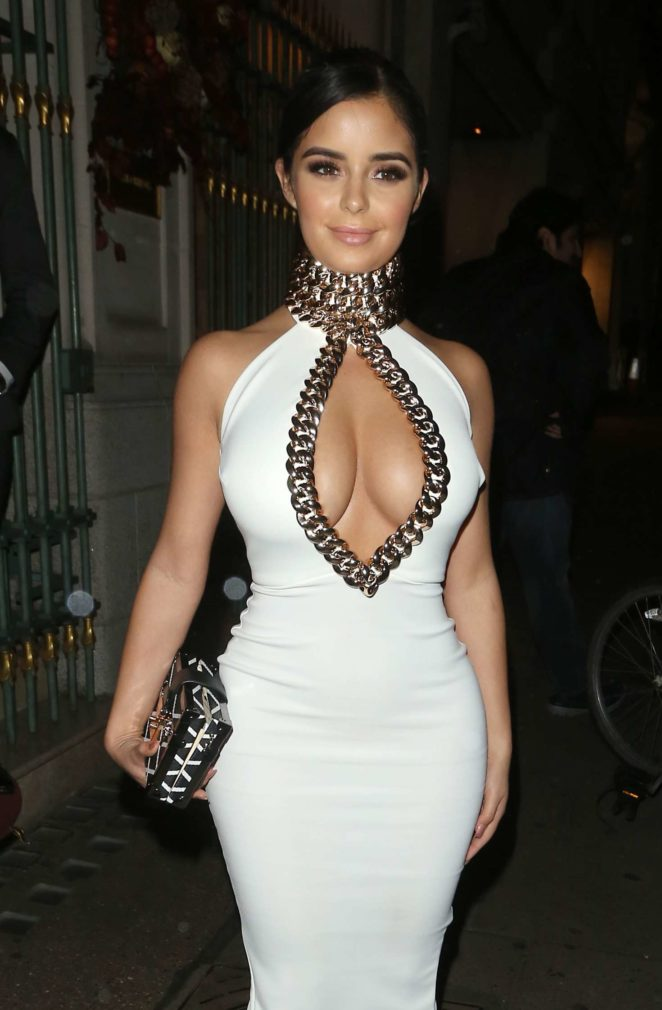 Demi Rose in White Tight Dress - Night Out at Mayfair in London