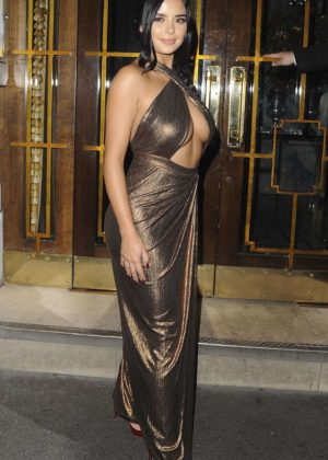 Demi Rose - Leaving House of CB Christmas Dinner in London