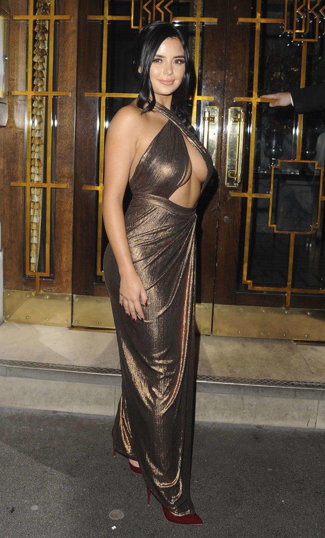 Demi Rose - Leaving House of CB Christmas Dinner in London