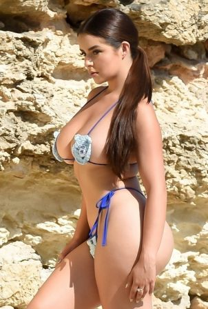 Demi Rose wears a teddy bear bikini in Ibiza