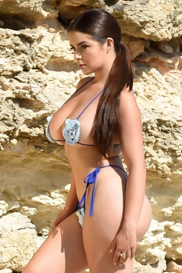 Demi Rose wears a teddy bear bikini in Ibiza