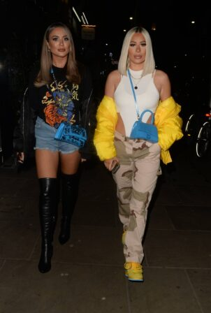 Demi Sims - With Frankie Sims night out in Kensington