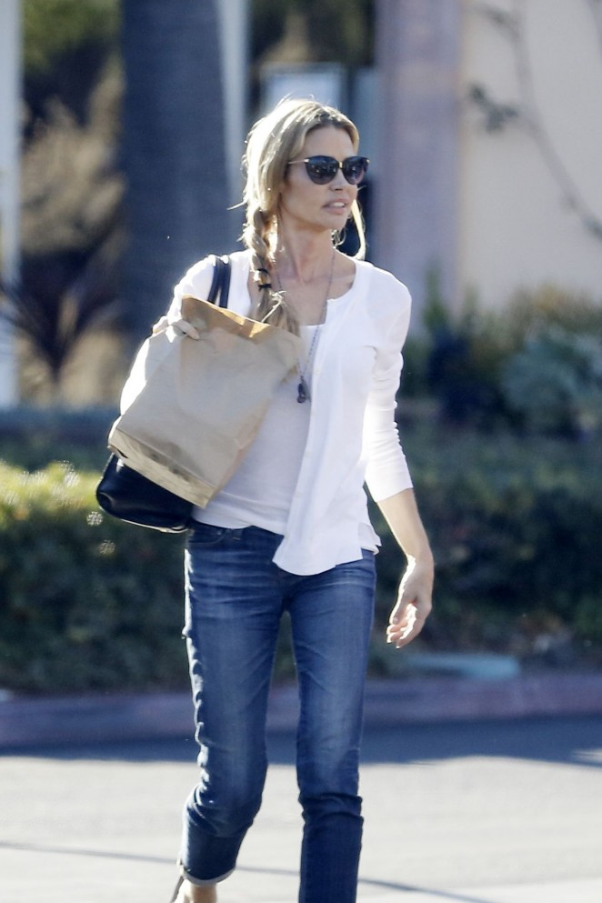 Denise Richards in Jeans at a Sushi Restaurant in Malibu