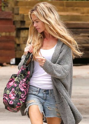 Denise Richards in Jeans Shorts Shopping in Malibu