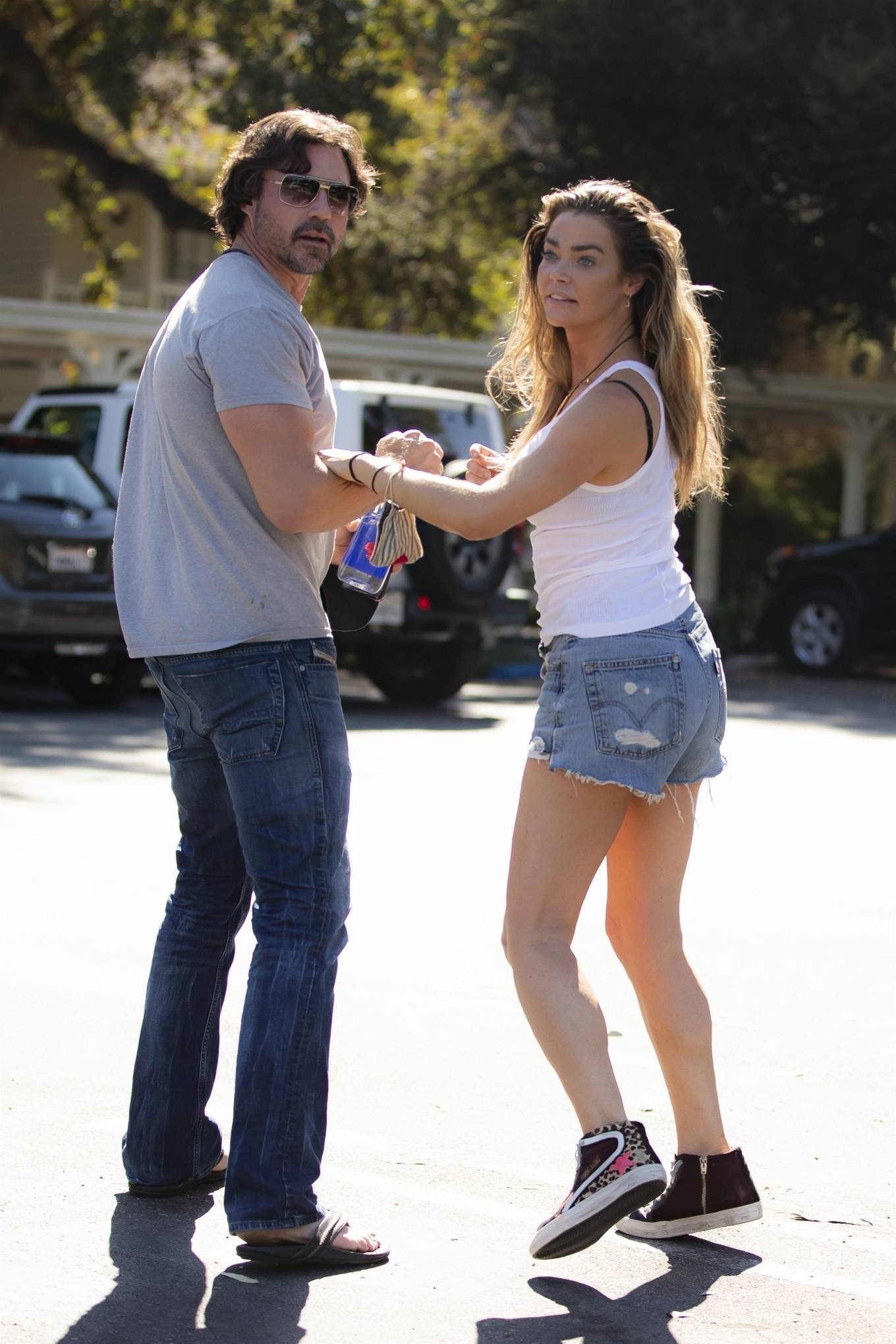Denise Richards - seen with her husband in Calabasas