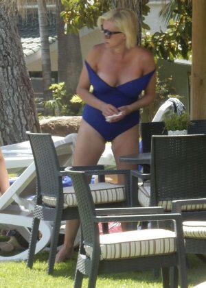 Denise van Outen in Blue Swimsuit in Marbella