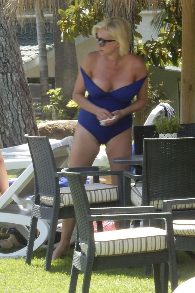 Denise van Outen in Blue Swimsuit in Marbella