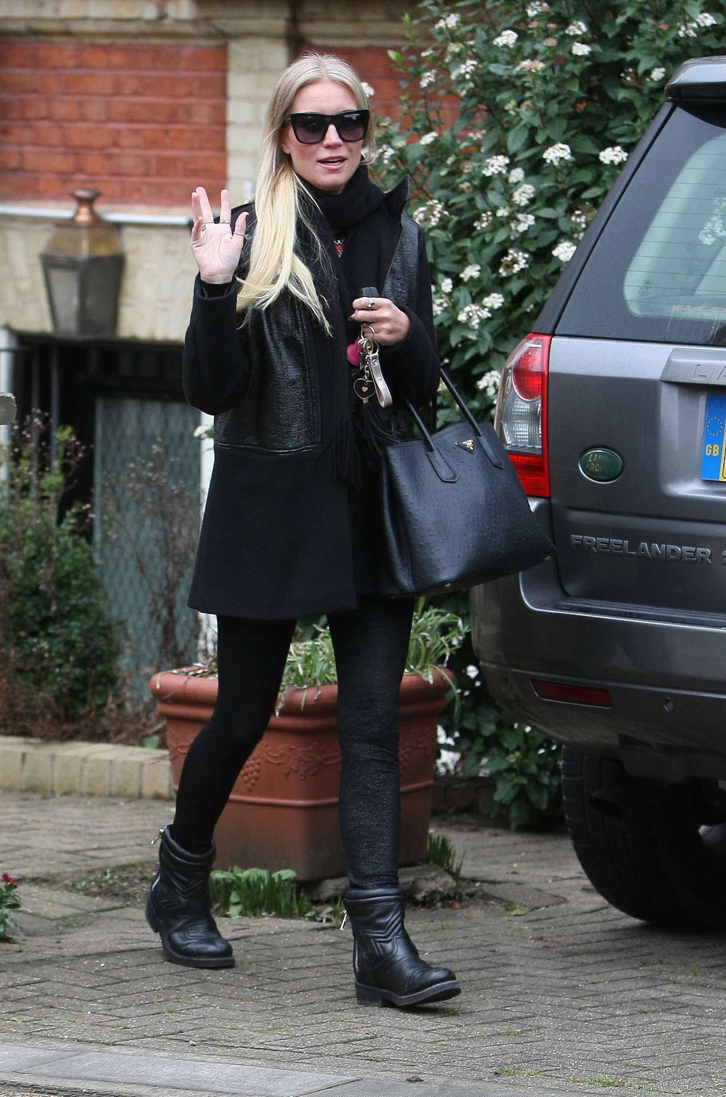 Denise Van Outen in Tights Leaving her home in London