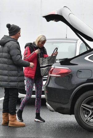 Denise Van Outen - With Matt Evers seen leaving dancing on ice rehearsals in London