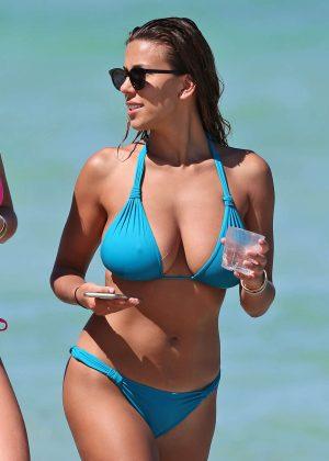 Devin Brugman in Blue Bikini at a Beach in Miami